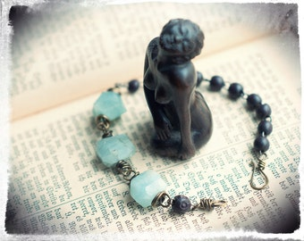Aquamarine faceted nugget and wooden rosary bracelet, Leman Street collection, repurposed brass and gemstone bracelet, ice blue and brown.