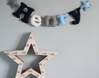 Baby nursery decor - name garland - large felt name garland - stars - personalised - bunting - child's decor - star - felt - MADE TO ORDER