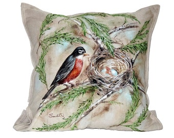 ROBIN BIRD PILLOW , Decorative Premier Bird Series Pillow (Includes Insert)