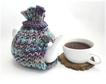 Tea Cosy, Tea Cozy, Purple & Turquoise Tea Cosy, Handknit Tea Cozy, 6 cup teapot cozy