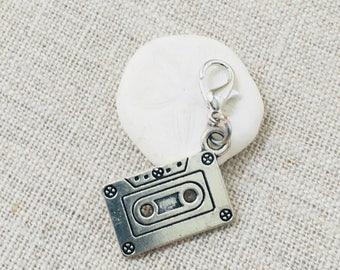Cassette Tape Stitch Marker- Music Lover Crochet Marker- Silver Stitch Marker- Locking Stitch Marker- Removable Stitch Marker- Punk Marker