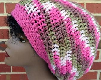 Extra Large Slouchy Rasta Tam Crochet Hat Pink Camo
