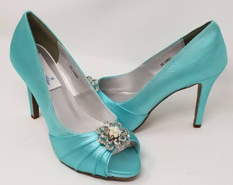 Blue Wedding Shoes with Pearl and Crystal Flower Design Blue Bridal Shoes - Over 100 Color Choices Dyeable Bridal Shoes Bridesmaid Shoes