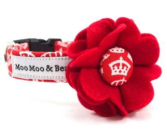 Duke & Duchess Royal Wedding Felt Dog Collar Flower with Handmade Button