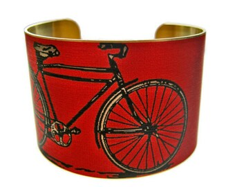 BIKE cuff bracelet brass   (As seen in Minnesota Monthly magazine) Free Shipping to USA Gifts for her