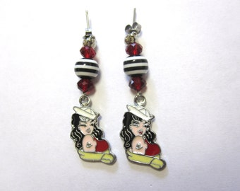 Rockabilly Pinup Jewelry Sailor Girl Earrings Tattoo Style Nautical