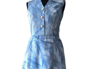 """Blue 1960's Dress // Vintage Button Dress // Blue Day Dress // Waist 29"""""""