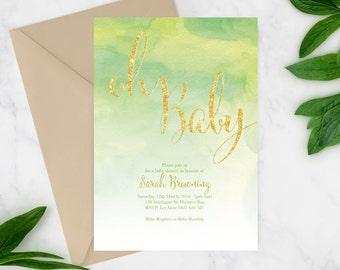 Printable Baby Shower Invitation   Baby Shower Invite   DIY Printable   Oh Baby Glitter invite