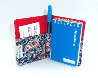 """Pocket Sized Notebook with fabric cover. Small ladies gift in """"Alfresco Paisley"""" Floral by Joella Hill Australian Seller"""