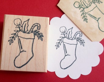 Christmas Stocking Rubber Stamp for tags, envelopes, stickers - Handmade by BlossomStamps