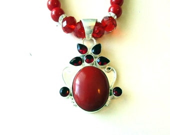 Red Coral Necklace, Red Coral & Garnet Pendant, Sterling Silver Pendant and Red Coral Bead Necklace