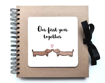 first anniversary gift / one year together / our first year / sausage dogs / in love / quirky scrapbook / Kraft paper photo album