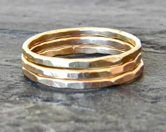 Gold Stacking Rings - Hammered Gold Ring - Dainty Gold Rings - Stacking Rings Gold - Large Ring - Thumb Ring Gold Fill - Ring Size 3 - 14