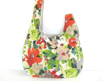 Crochet Knitting bag, Project tote, Japanese Knot handbag, Gift for knitters - Flower Jungle Market bag