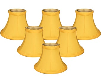 "Royal Designs Yellow Bell Chandelier Shade, 3"" x 6"" x 4.5"", Clip On"