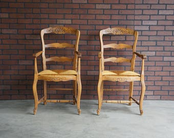 French Antique Arm Chairs / Dining Arm Chairs / Ladderback  Dining Arm Chairs ~ Pair of Dining Arm Chairs