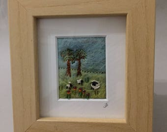 Small wet felted picture, Landscape with Sheep