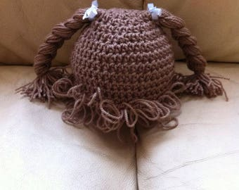 crochet cabbage patch hat wig plaited with bow