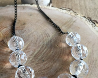 Clear acrylic crystals with aluminum chain necklace