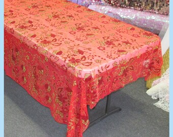 Tablecloth Flower Design Sequin 54 X 108 Rectangle - Red