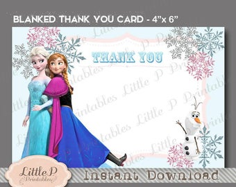 Frozen Thank you Card, INSTANT DOWNLOAD, Frozen Thank You Note, Frozen Thank You Printable. Olaf, Elsa, Anna Frozen. Frozen Party Idea 041