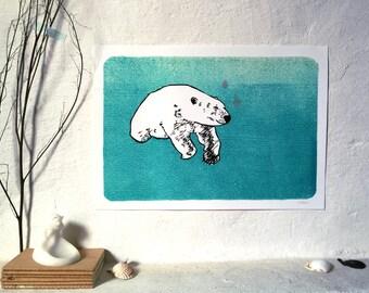 Digitaldruck - Polarbär - A3 (29,7x42cm) // Kunstdruck, Poster, Fine Art Print, Reproduktion, Eisbär, Linolschnitt