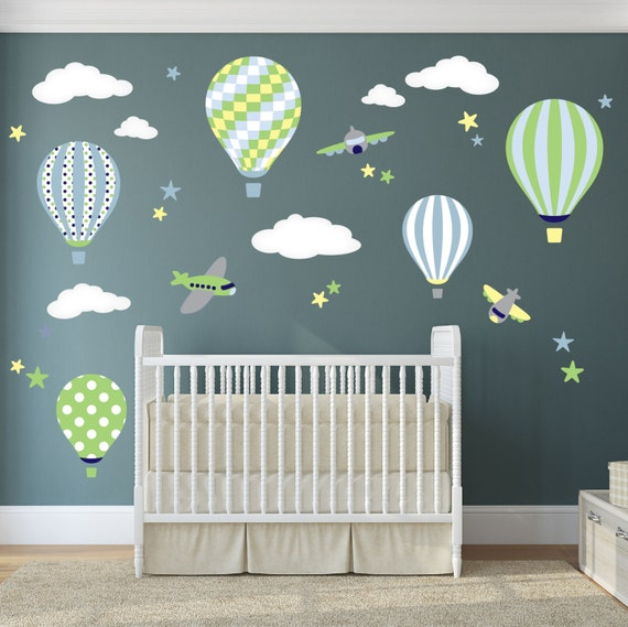 Balloon decal plane wall stickers yellow stars and white clouds boys nursery toddler gifts blue and green baby shower yellow and grey