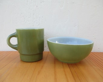 Fire King Cup & Bowl - Retro Mossy Green, Vintage Anchor Hocking / Mid Century Retro Kitchen