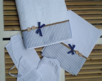 Orthodox Baptism Set Lathopana -Boys Baptismal set-5 Pieces Towel Set Orthodox Baptism-Greek Christening