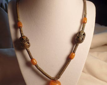 Genuine Amber and Brass Necklace African