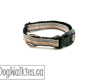 """Charleston Blvd Stripe Dog Collar - 1/2"""" Wide (12mm) - Tan Red Black White Stripes - Martingale or Quick Release - Choice of style and size"""