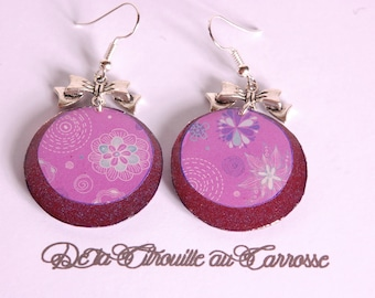 Floral design, plum and purple earrings