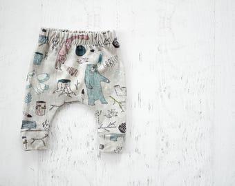 gender neutral harem pants, woodlands harem pants, baby boy leggings, baby harem pants, baby clothing, baby shower gift