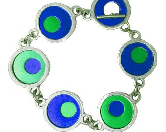 Two Tone Silver/recycled aluminum blue/green bracelet