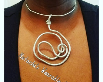 CLEARANCE/ Fun Abstract Aluminum Wire Pendant/ pendant Hangs 4 in Long/ Pendant does not come with necklace