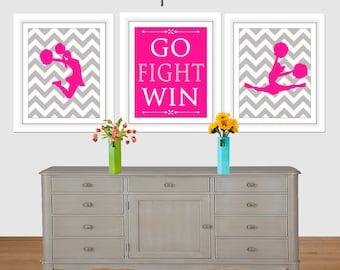 Go Fight Win, Cheerleading Pom Set of 3, Hot Pink, Cheerleader Wall Art, Cheer Gift, 8x10, 16x20, Cheer art print, Girls Room, Teen art,