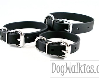 """Jet Black Biothane Dog Collar - 5/8"""" (16mm) wide - Leather Look and Feel - Small Dog Collar - Stainless Steel or Solid Brass Hardware"""