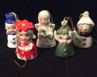 Porcelain Christmas Bell Ornaments-Set of 5