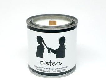 Sisters SoyBright™ Paint Can Half Pint Soy Wax Wooden Wick Candle   Sisters Candle Gift   Eco Friendly   You Pick Scent   No Phthalates 8 oz