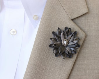 Mens Flower Lapel Pin, Gray Lapel Flower for Men, Mens Lapel Flower, Dark Gray Boutonniere, Gifts for Men, Men's Lapel Pin, Lapel Flower Pin