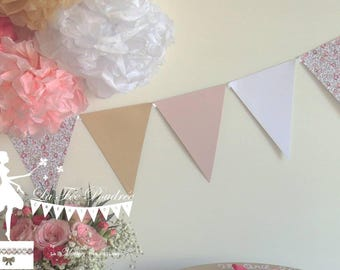 12 Bunting Liberty - 155cm white - pink - kraft