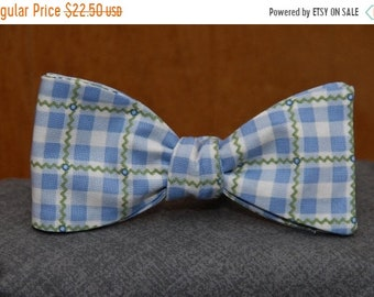 Old Time Blue-Green Gingham  Bow Tie