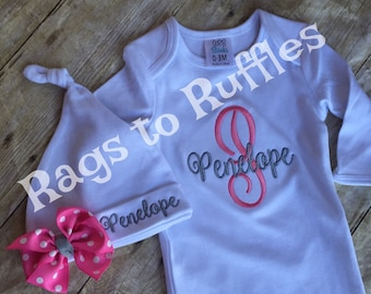 Baby  Girl Coming Home outfit- Personalized Infant Gown- Monogrammed Baby Gown Set