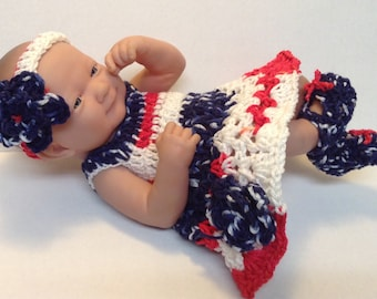 14 inch doll clothes,  4th of July Red White & Blue dress set,Ready to Ship,Dress,Headband ,shoes. Gifts for kids