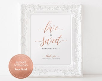 Love is Sweet Sign 8x10 Calligraphy Dessert Table DIY Wedding Printable Image Digital cake table sign INSTANT DOWNLOAD Rose Gold #DP140_43