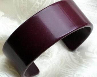 Vintage Bracelet Cuff Wide Purple Burgundy Bangle That 70's Show Vinyl Hollywood Modernist Boho Chic Bold Statement Mad Men