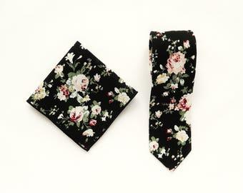 Black floral tie mens floral pocket square wedding tie gift for men skinny vintage tie pocket square groomsmen wedding ties