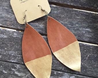 Dark Tan Earrings with Gold Tips