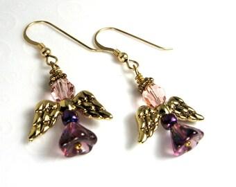 Purple Angel Earrings, Christmas Angel Earrings, Holiday Jewelry, Amethyst Purple and Gold Angel Earrings, Beaded Angel Jewelry