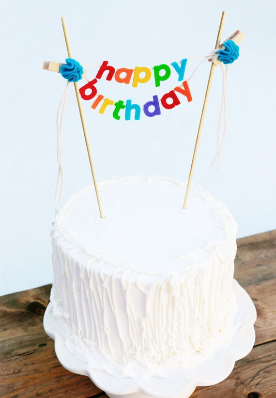 Birthday Cake Banner Birthday Cake Topper Happy Birthday